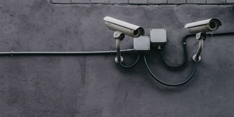 CCTV system on wall of commercial building